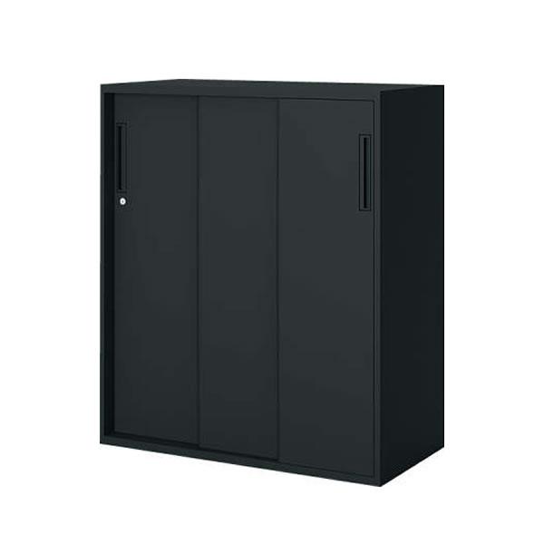 【最大3年保証】コクヨ エディア 収納システム 高さ1050mmタイプ 下置き 3枚引き違い戸 幅900×奥行き450mm ブラックタイプ【BWU-HD359F6】