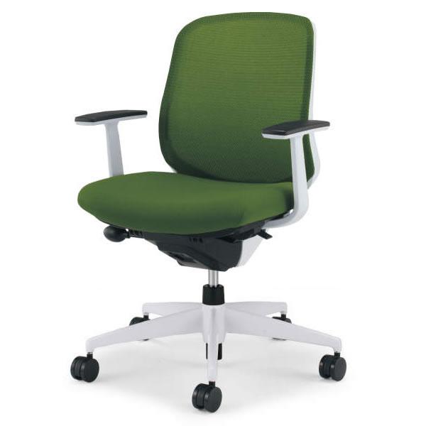 コクヨ シロッコ(Scirocco) オフィスチェア ローバック T型肘(ランバーサポートなし) 背座同色 樹脂脚(ホワイト/クリーンテクトコーティング)【CR-GW2601E1】