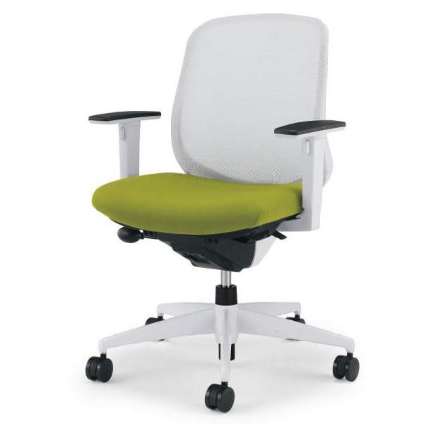 コクヨ シロッコ(Scirocco) オフィスチェア ローバック 可動肘(ランバーサポートなし) 背座同色 樹脂脚(ホワイト/クリーンテクトコーティング)【CR-GW2611E1】