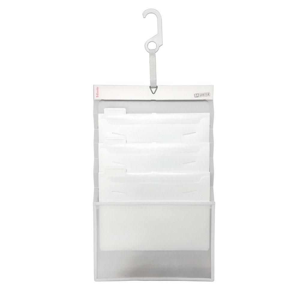 持ち運びもできる壁掛け用整理フォルダ エセルテ Esselte ソーテッド 3段 A4 ホワイト 壁掛け 人気ブレゼント! 22371 整理 インデックス付 オフィス用品 営業 生活用品 伸縮可能 ファイル アコブランズジャパン