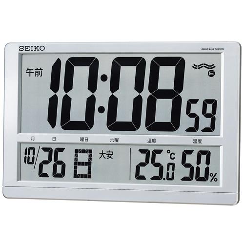 【送料無料】セイコー 電波掛置兼用時計 SQ433S 温湿度・カレンダー表示付 大型液晶で見易い 銀色メタリック