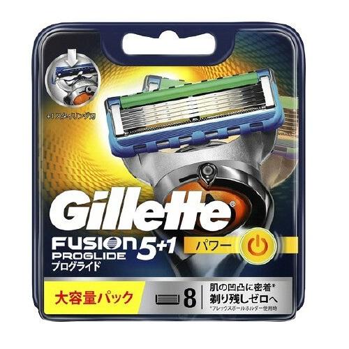 Gillette ジレット フュージョン5+1プログライドパワー 替刃8個入 完売 PROGLIDE バーゲンセール POWER カミソリ PP 替え刃 髭剃り フレックスボール搭載ホルダー対応