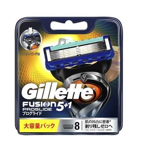 プログライド マニュアル替刃8個入Gillette ジレット フュージョン5+1 PROGLIDE カミソリ P 髭剃り 爆買い新作 ランキング総合1位 フレックスボール搭載ホルダー対応 替え刃