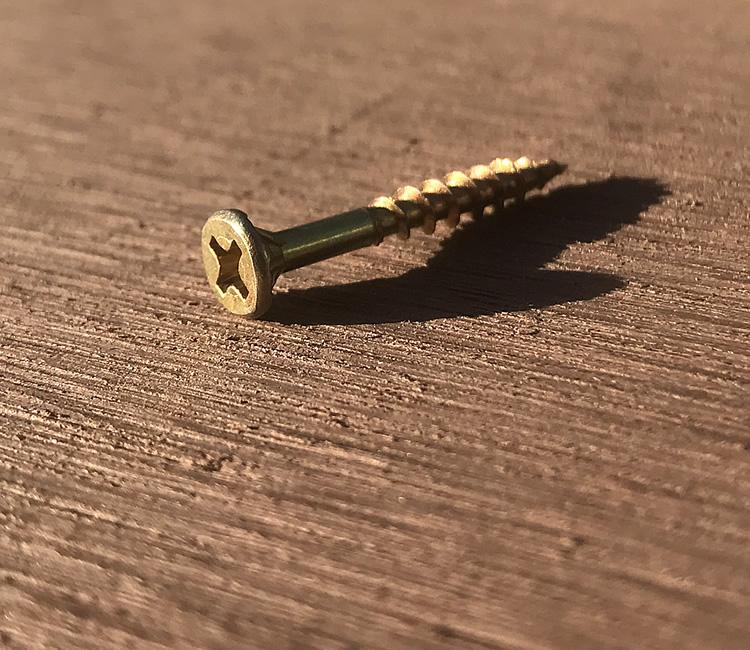 人工木材や支柱の固定に適したゴールド色の汎用ビスです 細ビス ●日本正規品● スリムビス 受注生産品 3.3×35mm JAN3086 - 50本入り