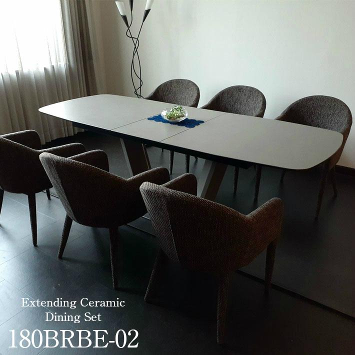 ダイニングテーブルセット セラミック イタリアンセラミック 伸張式ダイニングテーブル 180cm幅 220cm幅 ダイニングテーブル 伸長式 ブレスト 4人掛け 6人掛け 4人用 6人用 モダン 食卓 ダイニング7点セット 強化ガラス ファブリック
