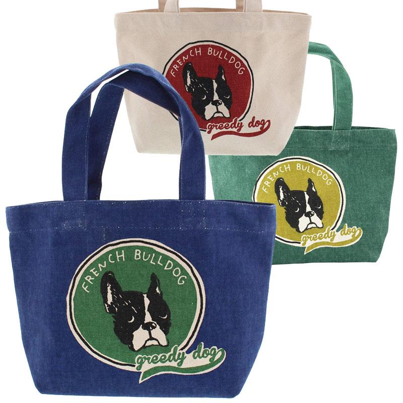 ミニ トートバッグ ブルトンワッペン ランチバッグ お弁当袋 お散歩 いぬ 犬 ちょっとそこまでに 未使用品 イヌ 市場 フレンチブルドッグ