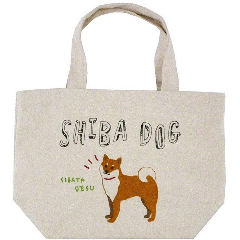 ミニ トートバッグ えいごでしばたさん ランチバッグ お弁当袋 お散歩 ちょっとそこまでに かわいい ミニトート しばたさん ギフ_包装 いぬ イヌ 10%OFF 柴犬