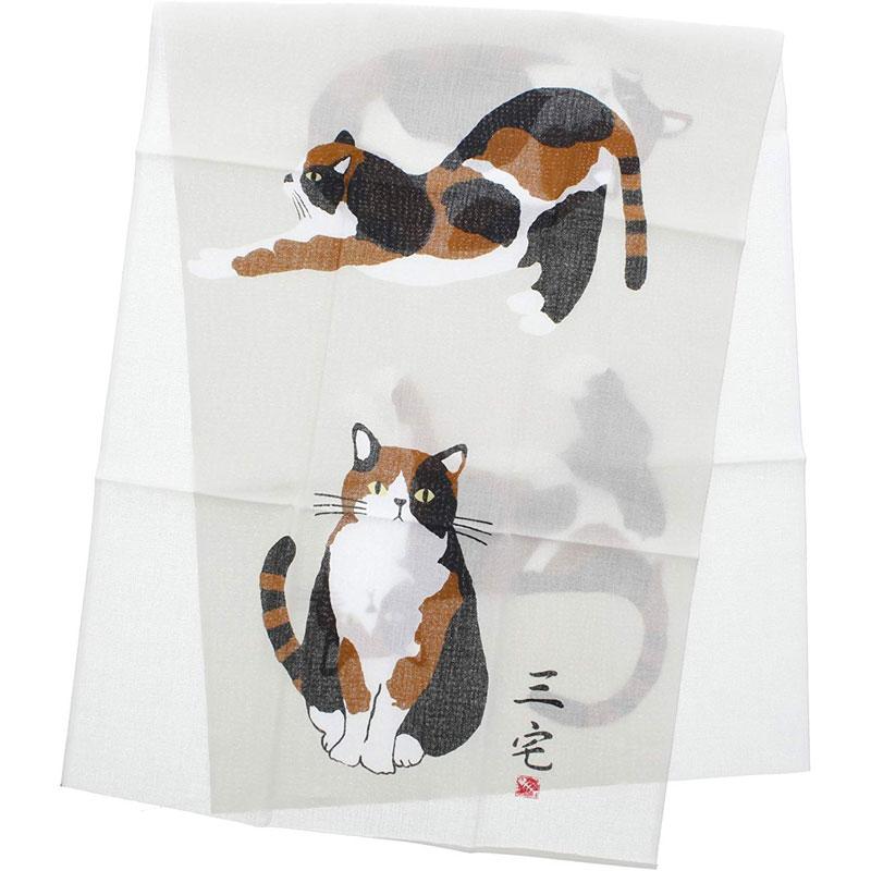 手ぬぐい みやけさんかけじく ベージュ 日本製 和風 ハンカチ 三毛猫 ミケネコ 大人気 ハイクオリティ ねこ