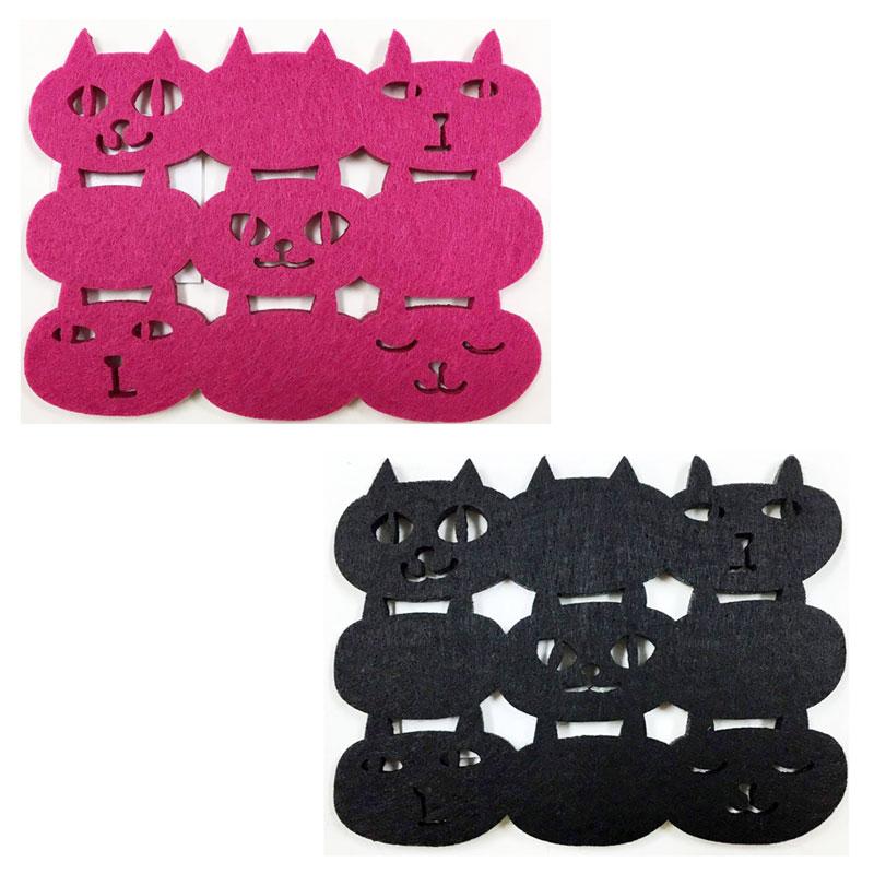 フェルトコースター 最安値 ネコマンフェイス ネコマンジュウ 黒猫 ねこ コースター オフィス イタズラネコ 2020新作 大人 来客 かわいい
