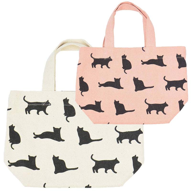 ミニ トートバッグ キャットナップ ランチバッグ お弁当袋 お散歩 新作入荷 ちょっとそこまでに ねこ おしゃれ かわいい ネコ 割り引き 猫柄 シルエット