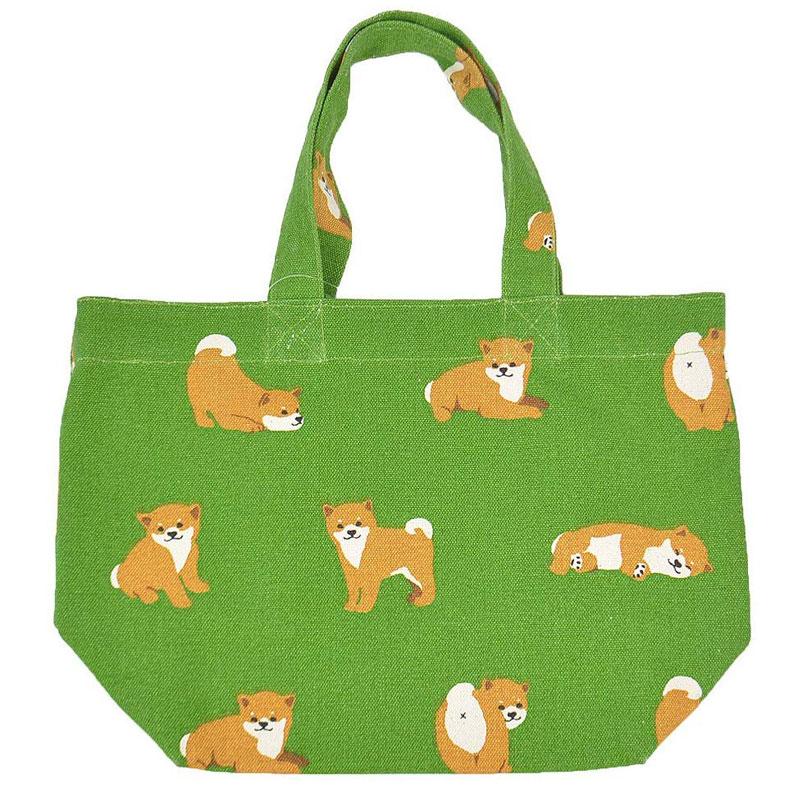ミニ トートバッグ ちびっこしばた グリーン ランチバッグ お弁当袋 お散歩 いぬ 柴犬 セール特別価格 ちょっとそこまでに イヌ 期間限定特別価格