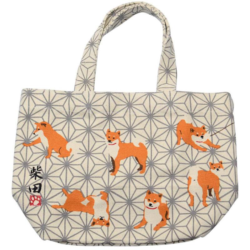 ミニ トートバッグ あさしばたさん 公式ストア グレイ ランチバッグ お弁当袋 お散歩 イヌ 新作送料無料 ちょっとそこまでに 柴犬 いぬ