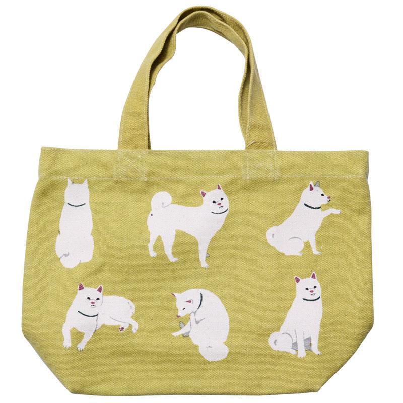 ミニ 本日限定 セールSALE%OFF トートバッグ しらいしびより イエロー ランチバッグ お弁当袋 お散歩 ちょっとそこまで おしゃれ 柴犬 犬 イヌ かわいい ミニトート 白柴 いぬ