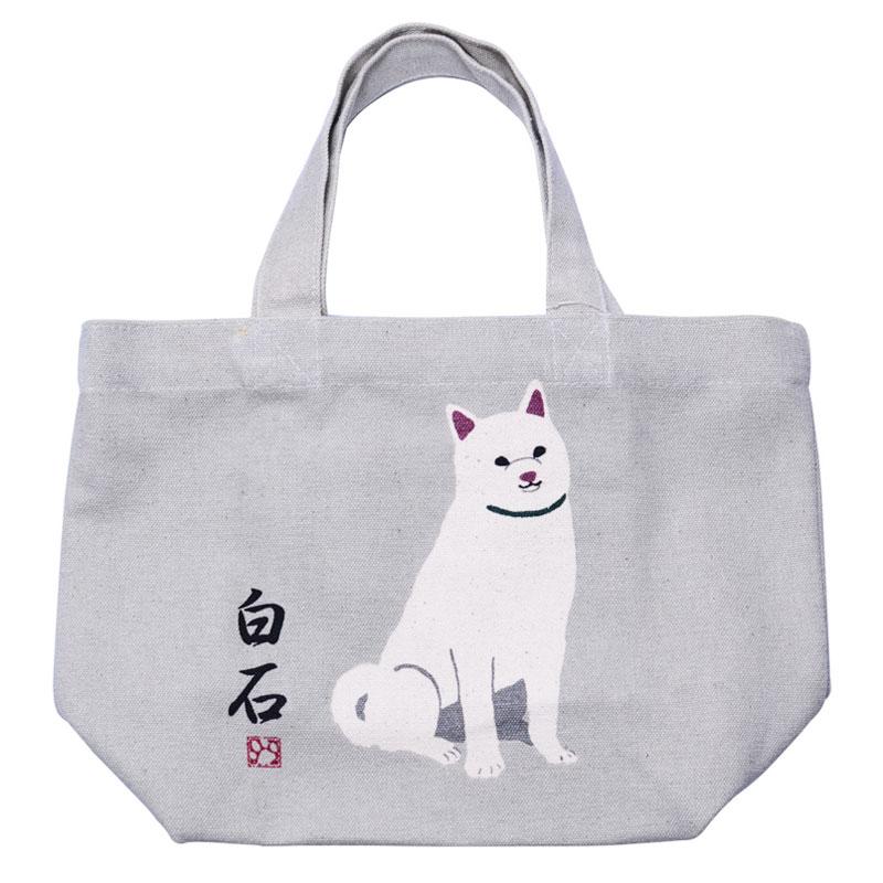新品未使用正規品 ミニ トートバッグ しらいしさん ベージュ 人気の製品 ランチバッグ お弁当袋 お散歩 ちょっとそこまで ミニトート いぬ 白柴 かわいい おしゃれ イヌ 犬 柴犬