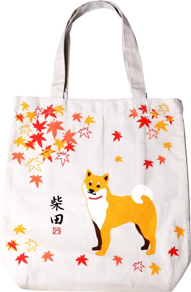 A4トートバッグ もみじしばたさん ベージュ 激安通販ショッピング 通勤通学 通塾 いぬ イヌ 柴犬 入手困難