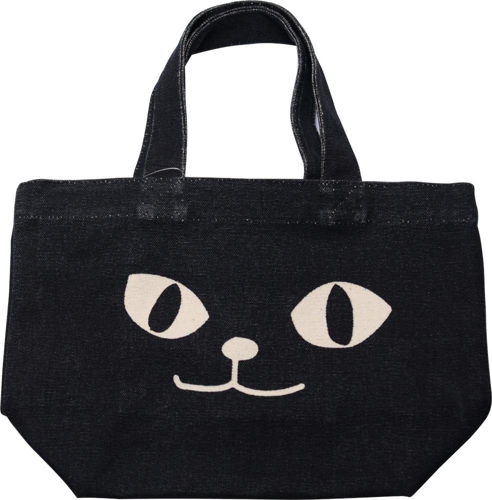 ミニ トートバッグ ネコマンアップ ブラック ランチバッグ お弁当袋 ねこ ネコマンジュウ ちょっとそこまでに 返品不可 値下げ お散歩 ネコ 黒猫