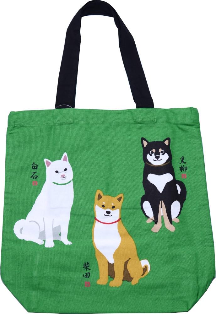 A4トートバッグ シバイヌトリオ グリーン 通勤通学 通塾 いぬ 柴犬 通常便なら送料無料 授与 イヌ