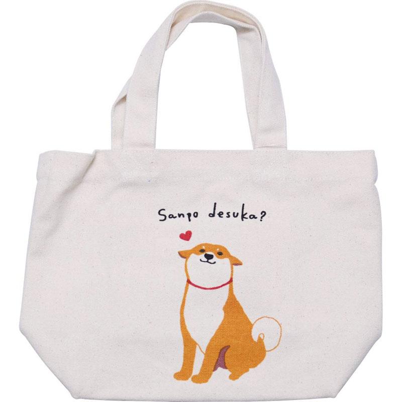 ミニ トートバッグ ハッピーしばた ナチュラル ランチバッグ お弁当袋 在庫一掃 お散歩 いぬ イヌ ちょっとそこまでに 柴犬 希望者のみラッピング無料