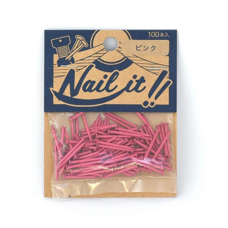 ネコポスOK ストリングアート ネイルイット Nail アイテム勢ぞろい it 釘 袋入り 100本 ピンク DIY 全国どこでも送料無料 カラーくぎ 手作り ナチュラル クギ ハンドメイド