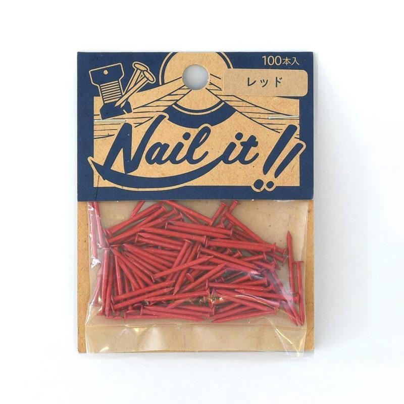 セール価格 ネコポスOK ストリングアート ネイルイット Nail it 釘 袋入り 100本 レッド クギ ハンドメイド 手作り 出群 カラーくぎ ナチュラル DIY