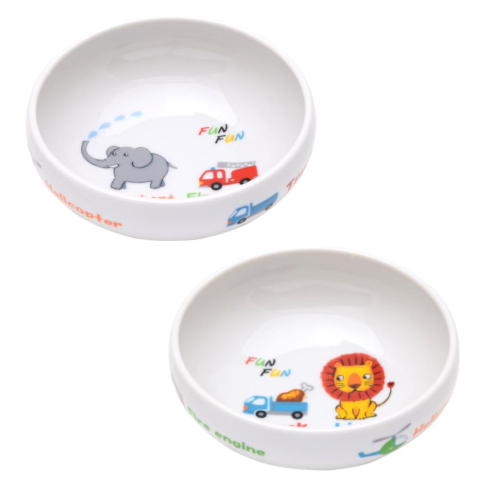 こぼしにくい 皿 お皿 小鉢 かわいい キッズ 高齢者 すくいやすい サービス 食器 保障 アニマル 小皿 ファンファン 日本製 ボウル 動物 2枚組 子ども セット