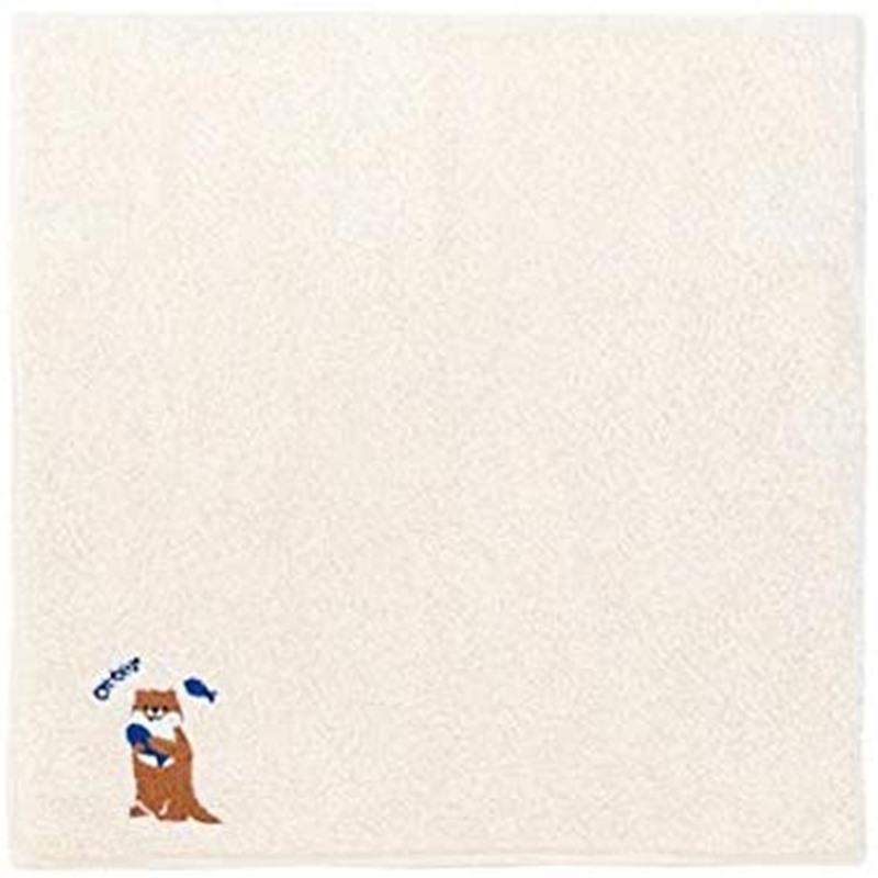 zootto 格安店 オーガニックコットン ハンカチ カワウソ 25%OFF 正面 かわうそ 今治タオル かわいい ミニタオル ハンドタオル おしゃれ 日本製