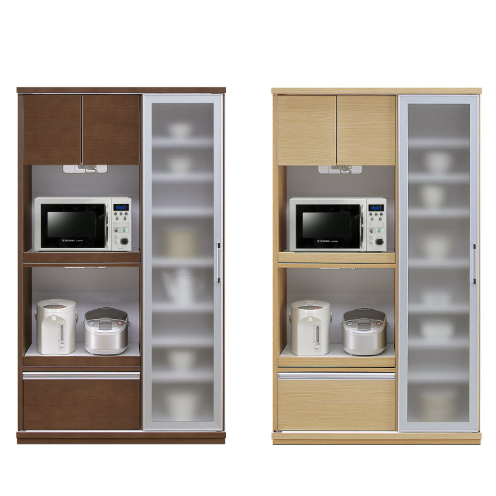 キッチンボード ダイニングボード 食器棚 レンジボード 幅105 ハイタイプ 北欧 モダン キッチン収納 天然木 ミストガラス フルスライドレール コンセント付き 木製 送料無料 通販