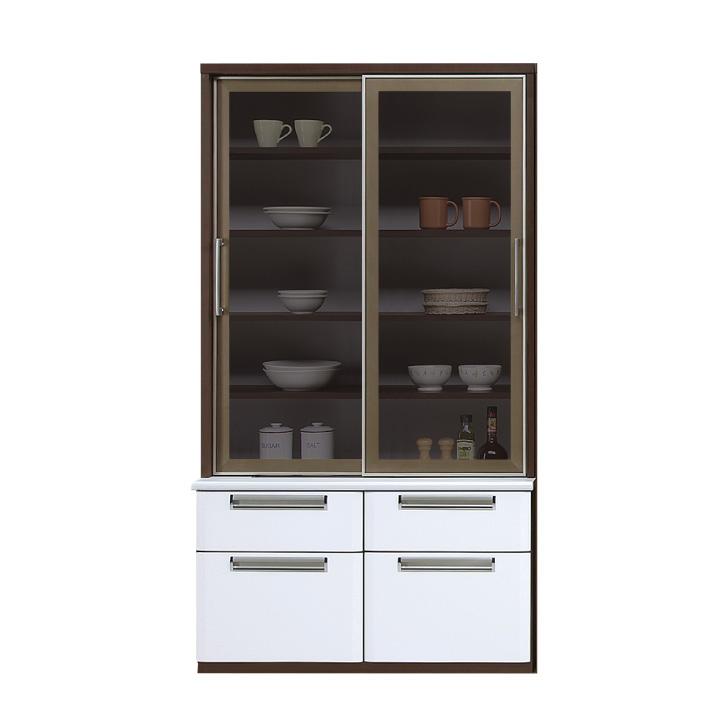 食器棚 カップボード キッチンボード 幅100 ハイタイプ スモークガラス 引戸 サイレントクローズ 北欧 モダン キッチン収納 鏡面 艶あり 光沢あり フルスライドレール 木製 送料無料 通販