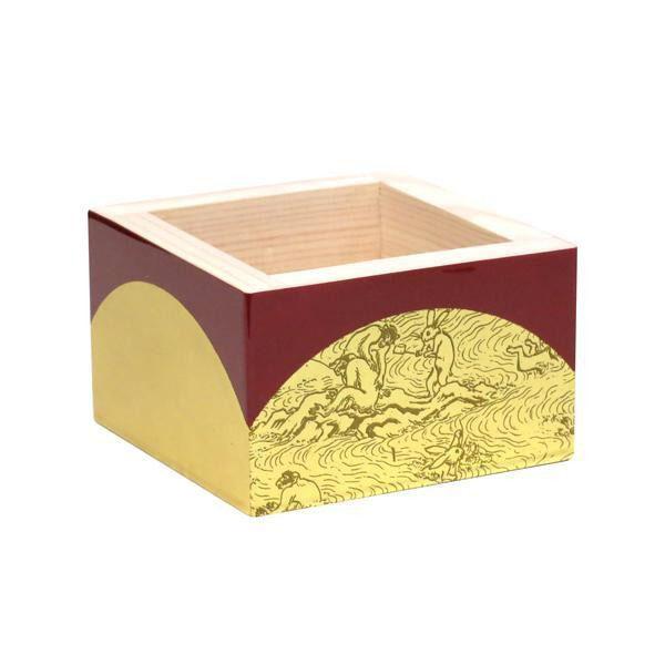 アオトクリエイティブ 加飾枡 楕円金箔鳥獣戯画 八勺 MK-04