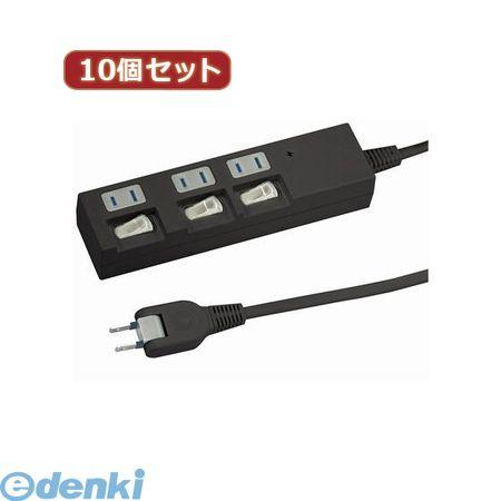 【個数:1個】 Y02BKS333BKX10 直送 代引不可・同梱不可 YAZAWA 【10個セット】個別スイッチ付節電タップ【送料無料】