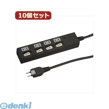 【個数:1個】[Y02BKS442BKX10]「直送」【代引不可・同梱不可】YAZAWA 【10個セット】個別スイッチ付節電タップ【送料無料】
