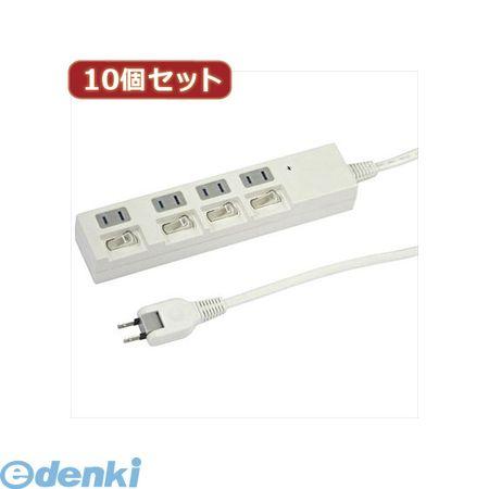 【個数:1個】 Y02BKS442WHX10 直送 代引不可・同梱不可 YAZAWA 【10個セット】個別スイッチ付節電タップ【送料無料】