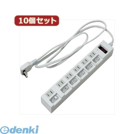 【個数:1個】[Y02BKS672WHX10]「直送」【代引不可・同梱不可】YAZAWA 【10個セット】 個別集中スイッチ付節電タップ【送料無料】