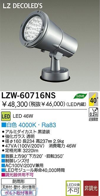 大光電機(DAIKO) [LZW-60716NS] LED屋外スポットライト LZW60716NS【送料無料】