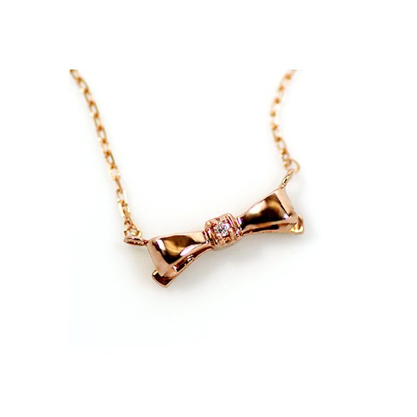 直送・代引不可 10金ピンクゴールド 天然ダイヤモンド プチ リボン ペンダント ネックレス 別商品の同時注文不可