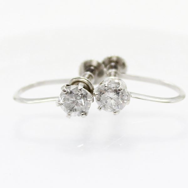 直送・代引不可 プラチナ0.6ctダイヤリング 指輪6爪スクリュー式イヤリング 別商品の同時注文不可