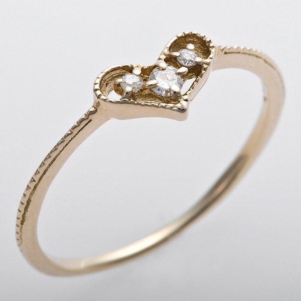 直送・代引不可 K10イエローゴールド 天然ダイヤリング 指輪 ピンキーリング ダイヤモンドリング 0.03ct 2号 アンティーク調 プリンセス ハートモチーフ 別商品の同時注文不可