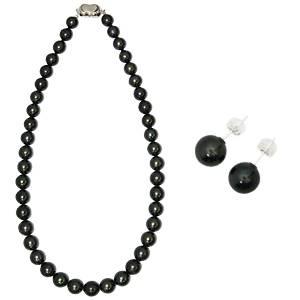 直送・代引不可【鑑別付】タヒチ産真珠 T-1 8~10mm ネックレス+ピアスセット(ケース付)別商品の同時注文不可
