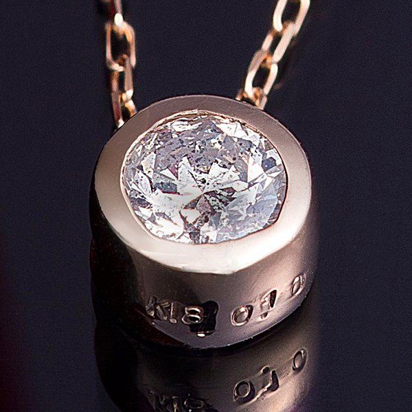 直送・代引不可K18PG 0.1ctダイヤモンドフクリンペンダント別商品の同時注文不可