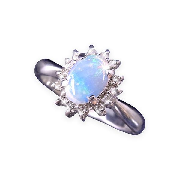 直送・代引不可大粒オパール&ダイヤリング 指輪 17号別商品の同時注文不可