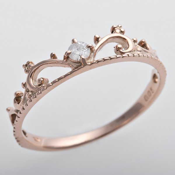 直送・代引不可ダイヤモンド リング K10ピンクゴールド ダイヤ0.05ct 9号 アンティーク調 プリンセス ティアラモチーフ 別商品の同時注文不可