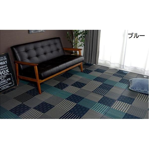 直送・代引不可純国産 日本製 い草花ござカーペット 『京刺子』 ブルー 江戸間6畳(約261×352cm)別商品の同時注文不可
