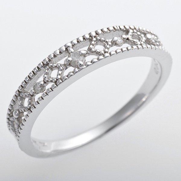 直送・代引不可K10ホワイトゴールド 天然ダイヤリング 指輪 ピンキーリング ダイヤモンドリング 0.02ct 5号 アンティーク調 プリンセス別商品の同時注文不可