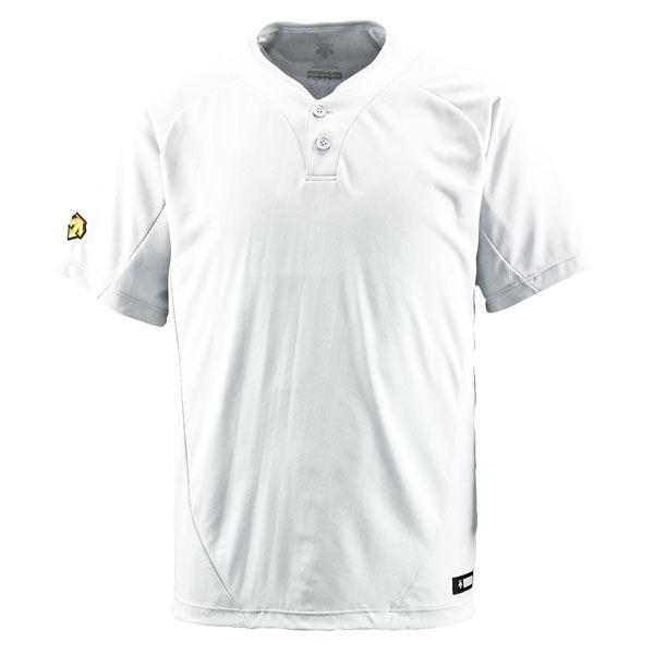 直送・デサント(DESCENTE) ベースボールシャツ(2ボタン) (野球) DB201 Sホワイト M別商品の同時注文不可:測定器・工具のイーデンキ