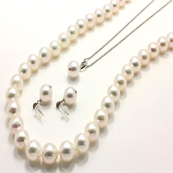 直送・代引不可アコヤ本真珠 8.5-9.0mm珠 ネックレス&ピアス&ペンダント 3点セット別商品の同時注文不可