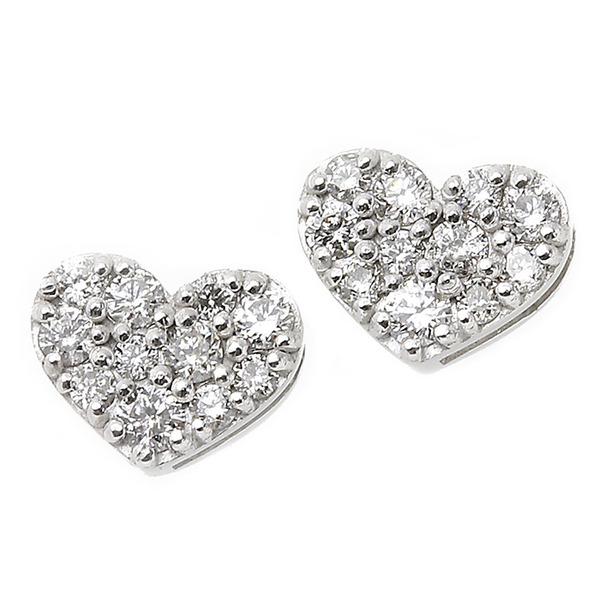 直送・代引不可 ダイヤモンド ピアス K18 ホワイトゴールド 0.1ct ハート パヴェピアス 0.1カラット ハートパヴェ 別商品の同時注文不可