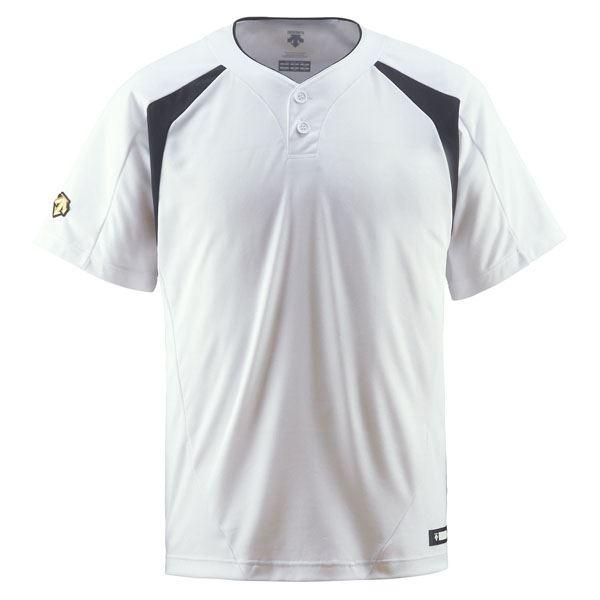 直送・代引不可 デサント(DESCENTE) ベースボールシャツ(2ボタン) (野球) DB205 Sホワイト×ブラック O 別商品の同時注文不可