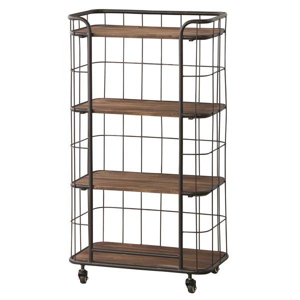 直送・代引不可収納棚(シェルフ) 木製/スチール 4段 幅60cm IW-995別商品の同時注文不可