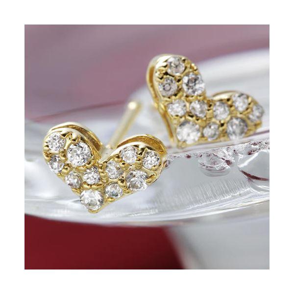 直送・代引不可K18YGダイヤモンドピアス ハートパヴェピアス別商品の同時注文不可