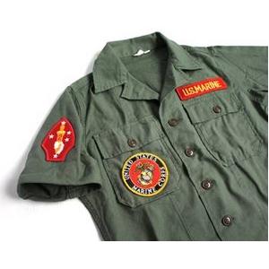 直送・代引不可アメリカ軍 OG-107 ファティーグシャツ/半袖  柄/MARINE  別商品の同時注文不可